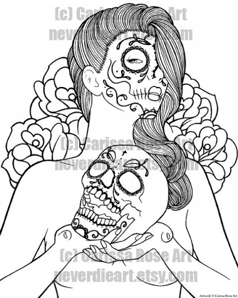 Pin Up Girl Coloring Pages