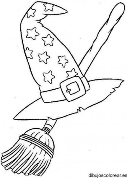 Dibujo De Un Sombrero De Bruja Y Escoba