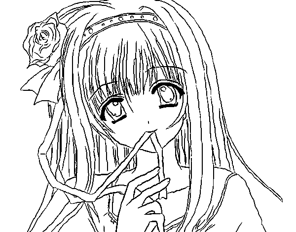 Dibujo De Chica Anime Para Colorear