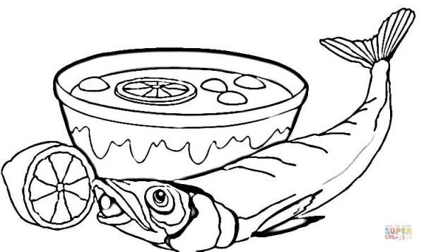 Dibujo De Sopa Y Pescado Para Colorear