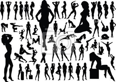 Colección De Siluetas De Mujeres Desnudas Vector Carteles Para La