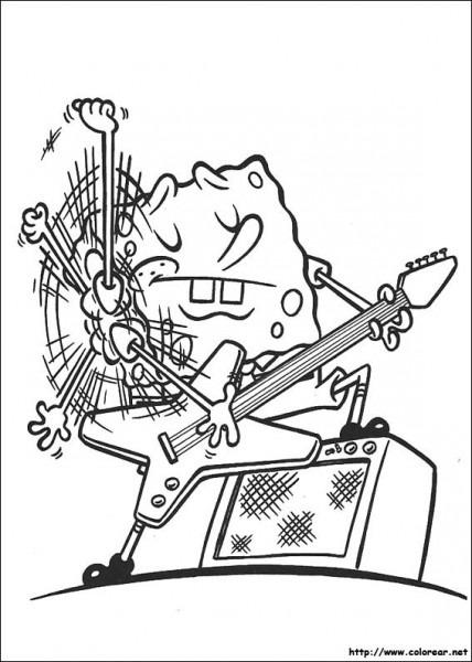 Colorea A Bob Esponja Rockero