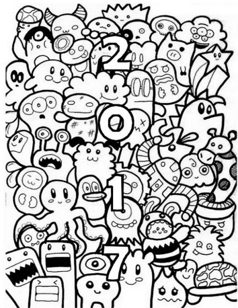Dibujo Para Colorear Relajante Ano Nuevo 2017 10
