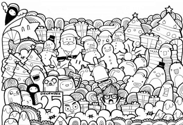 Dibujo Para Colorear Relajante Navidad 11