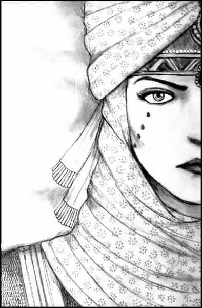 Dibujo Para Colorear Relajante Mundo Arabe   Cara Mujer Oriental 23