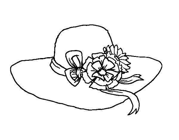Dibujo De Sombrero Con Flores Para Colorear