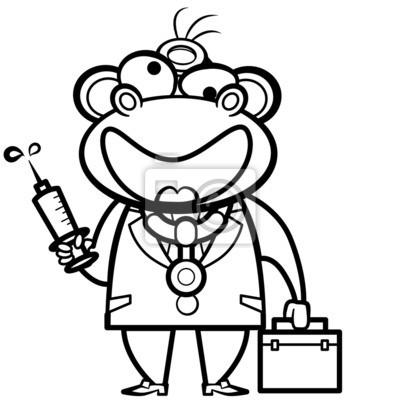 De Dibujos Animados Para Colorear Médico Mono Con Botiquín De