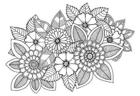 Patr N De Flores Blanco Y Negro Para Colorear  Garabatos Dibujo