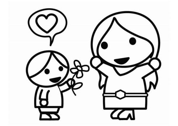 Dibujo Para Colorear Día De La Madre Con Hijo