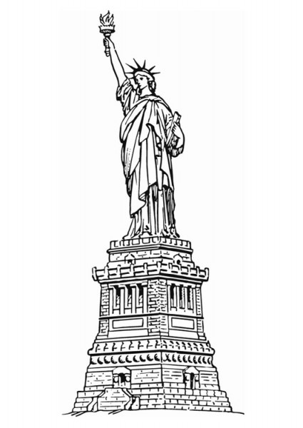 Dibujo Para Colorear Estatua De La Libertad De Nueva York