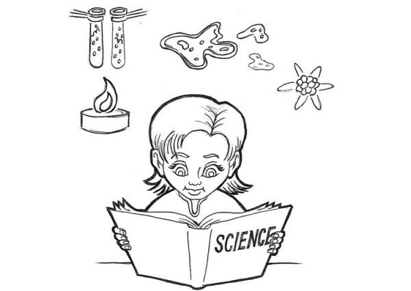 Dibujo Para Colorear Estudiando Ciencias