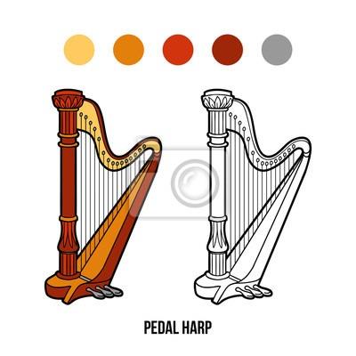 Dibujo Para Colorear  Instrumentos De Música (arpa De Pedal