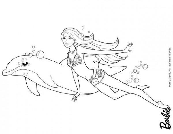 Dibujos De Barbie Una Aventura De Sirenas Para Colorear