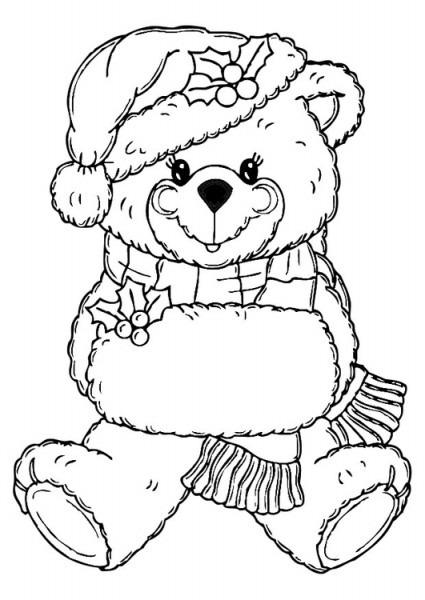 Dibujo Para Colorear Oso De Navidad