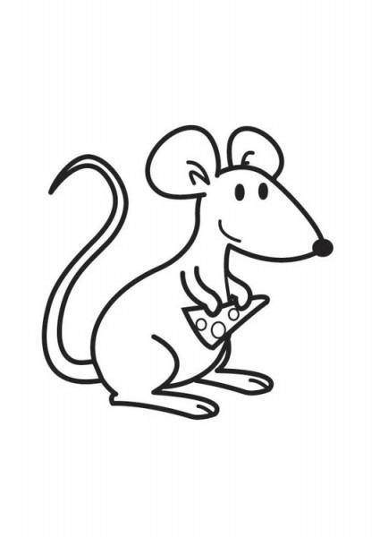 Dibujo Para Colorear Ratón Con Queso