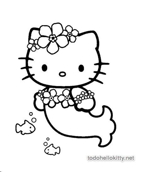 Hello Kitty Sirena Para Colorear