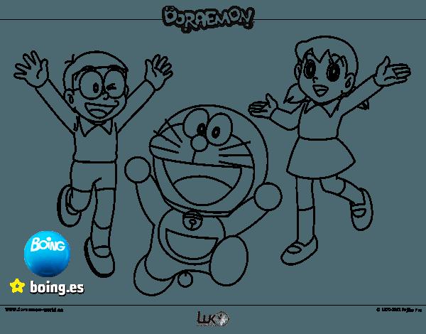 Dibujo De Doraemon Y Amigos Para Colorear