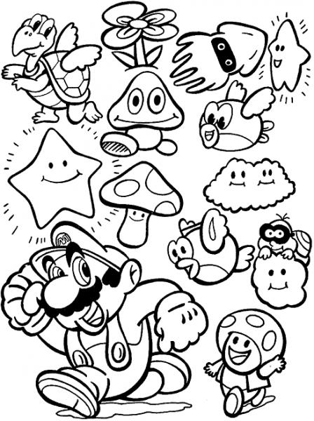 Mario Bros  5 (videojuegos) – Páginas Para Colorear