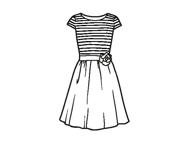 Dibujo De Vestido Casual Para Colorear