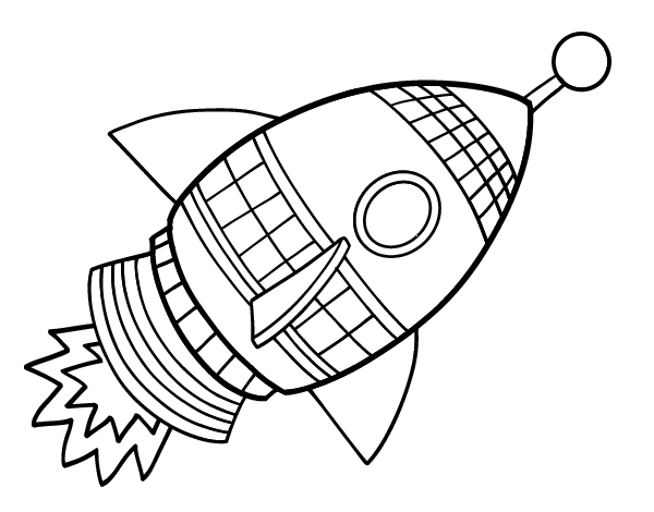 Dibujo De Un Cohete Espacial Para Pintar, Colorear O Imprimir