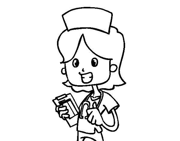 Dibujo De Enfermera De Visita Para Colorear