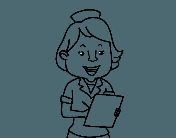 Dibujo De Enfermera Sonriente Para Colorear