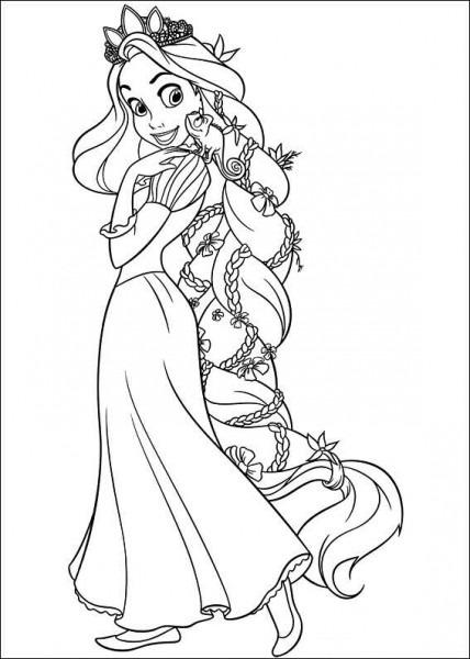 Dibujos Para Colorear De Enredados  Rapunzel Con Su Trenza De