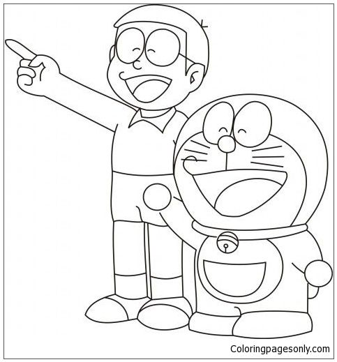 Doraemon And Nobita Coloring Page