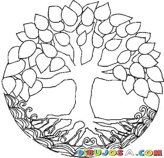 Mandalas Para Colorear Arbol Con Hojas Y Raiz Tipo Timberland