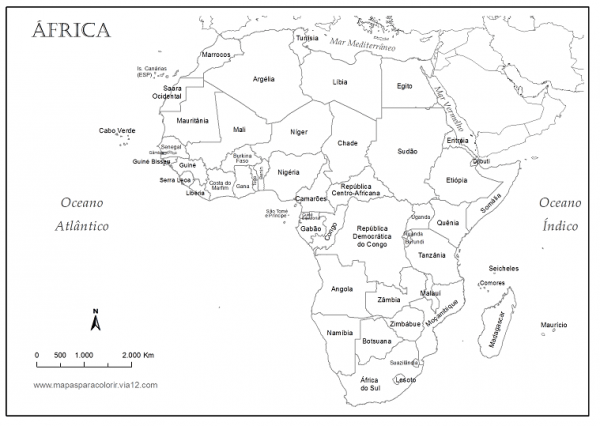Mapa Do Continente Africano Para Colorir