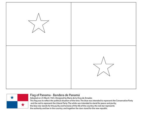 Dibujo De Bandera De Panamá Para Colorear