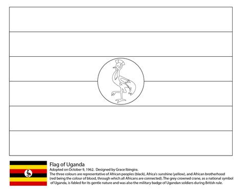 Dibujo De Bandera De Uganda Para Colorear