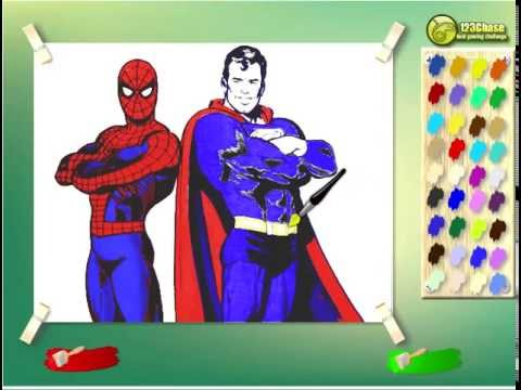 Juego  Colorear Spiderman Y Superman Gratis Online