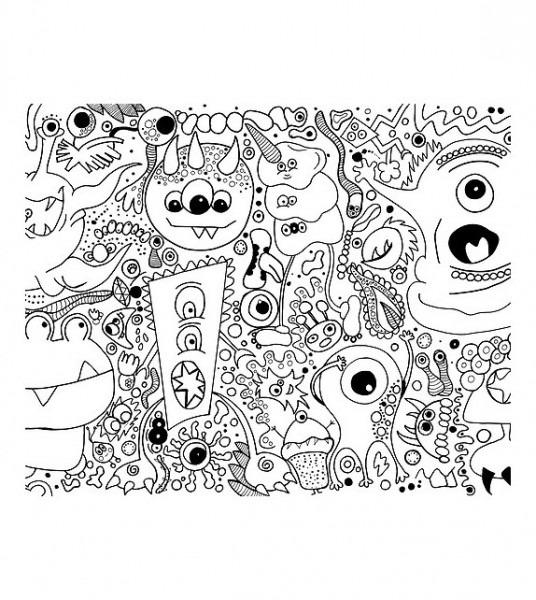 Lámina Para Colorear  Tema Monsters De Hola Little Soul
