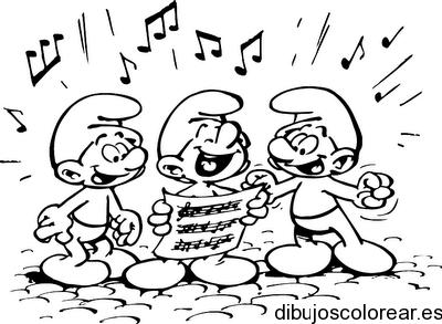 Dibujo De Los Pitufos Cantando