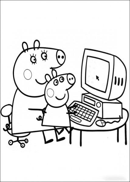 Mama Pig Y Peppa En El Ordenador Haciendo Los Deberes Y
