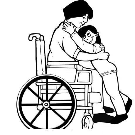 Mamá En Silla De Ruedas Abrazando A Hija