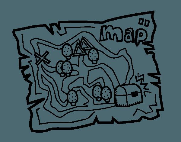 Dibujo De Mapa Del Tesoro Para Colorear