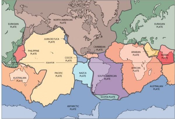 4) Mapamundi De Placas Tectónicas A Colores, Usgs