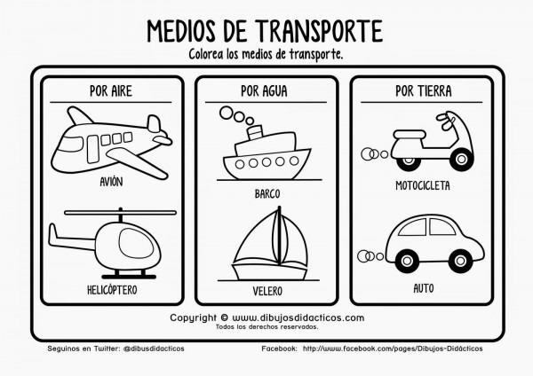 Plantillas De Dibujos De Medios De Transportes Para Colorear