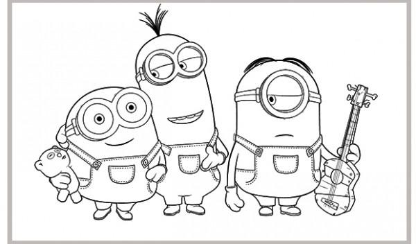 Minions Para Colorear  Bob, Stuart Y Kevin   Minions Para Colorear