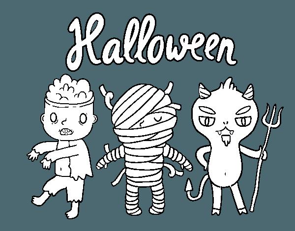 Dibujo De Monstruitos De Halloween Para Colorear