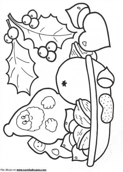 Dibujo De Frutos Secos Para Colorear De Navidad