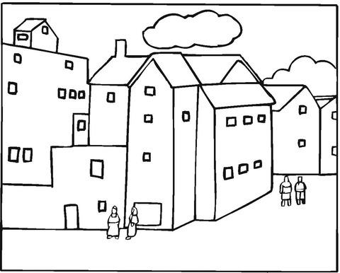 Dibujo De Barrio En Una Ciudad Para Colorear