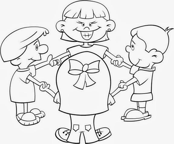 Niños Formando Un Circulo Para Colorear E Imprimir