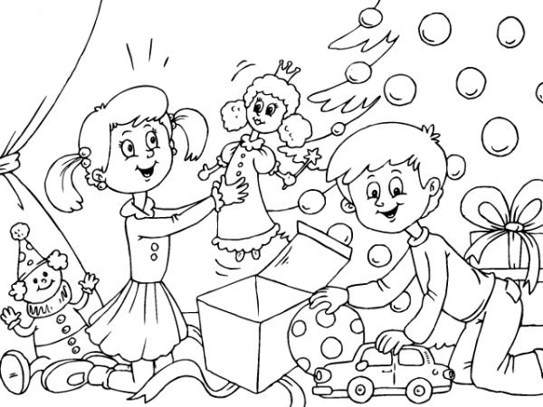 Colorear Ni Os Abriendo Los Regalos De Navidad Dibujos