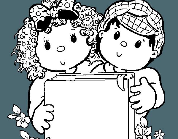 Caratula De Niños Leyendo Y Libros Para Colorear