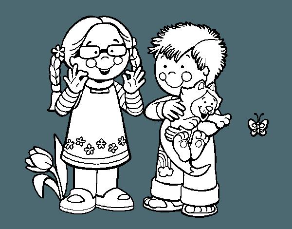 Dibujo De Niños En El Campo Para Colorear