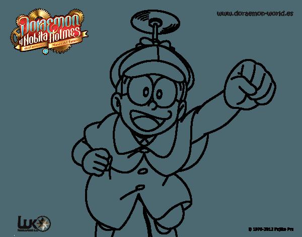 Dibujo De Nobita Holmes Volando Para Colorear