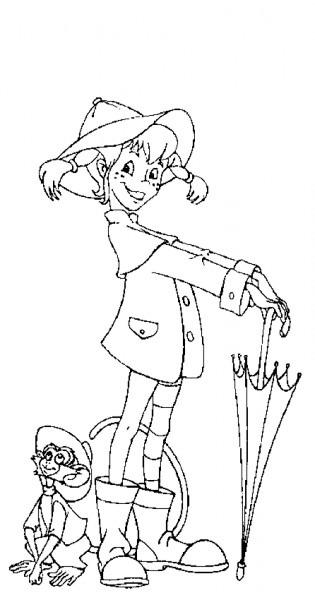Dibujos De Pippi Calzaslargas Con El Paraguas Para Colorear